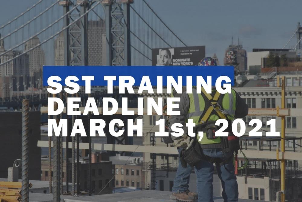 sst deadline, sst extension, SST training, nyc dob, fall prevention, site safety training, sst